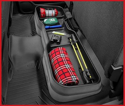 Photograph of an Under Seat Storage System in a vehicle.