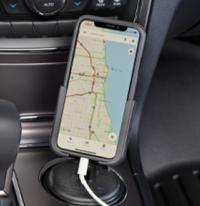 CupFone is a universal portable cell phone holder that sits conveniently in any vehicle's cup holder.
