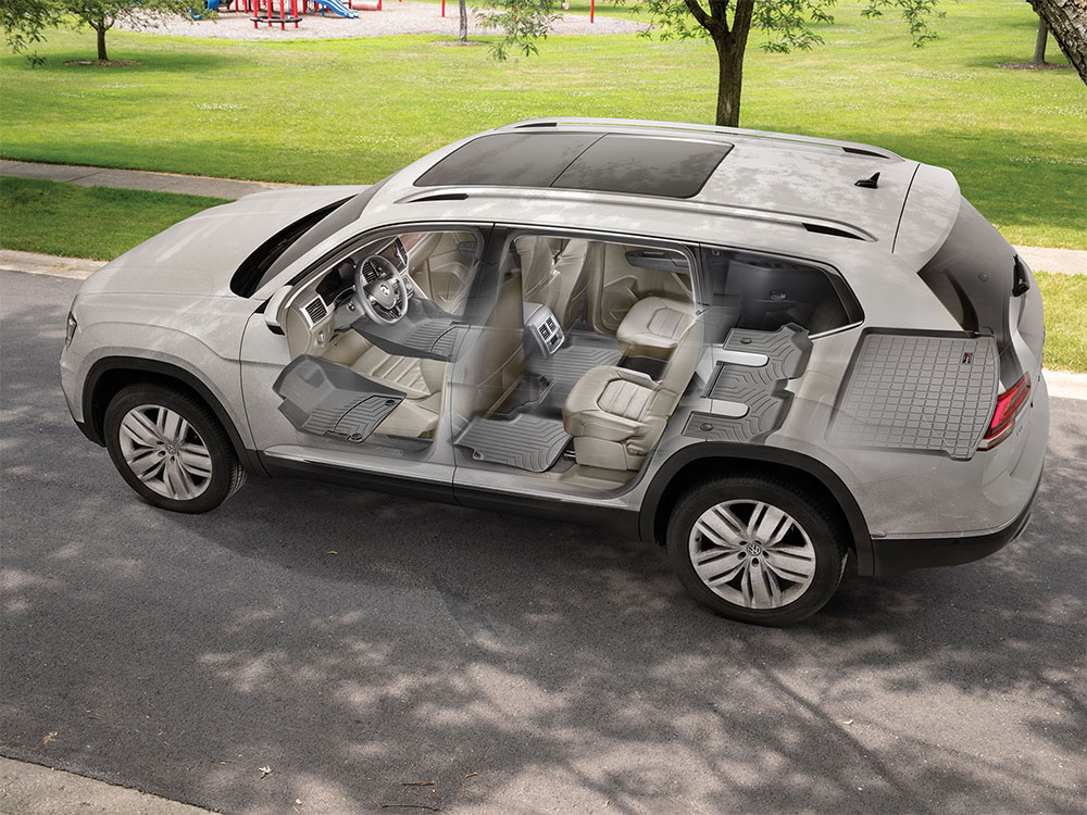 X-Ray styled image of WeatherTech FloorLiners and CargoLiners installed in an SUV.