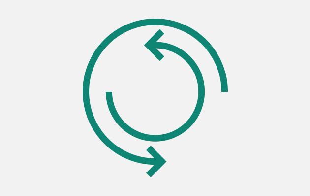 Two green arrows symbolizing ergonomic.
