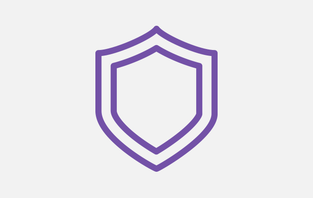 Purple outline of a shield, symbolizing durability.