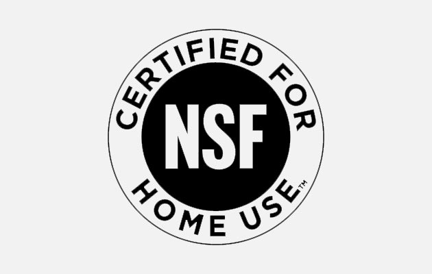 Black NSF Certified for Home Use logo.