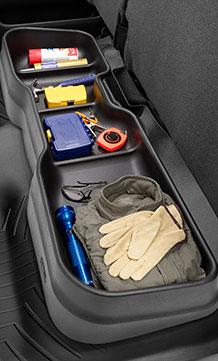 Weathertech Under Seat Storage System in use.