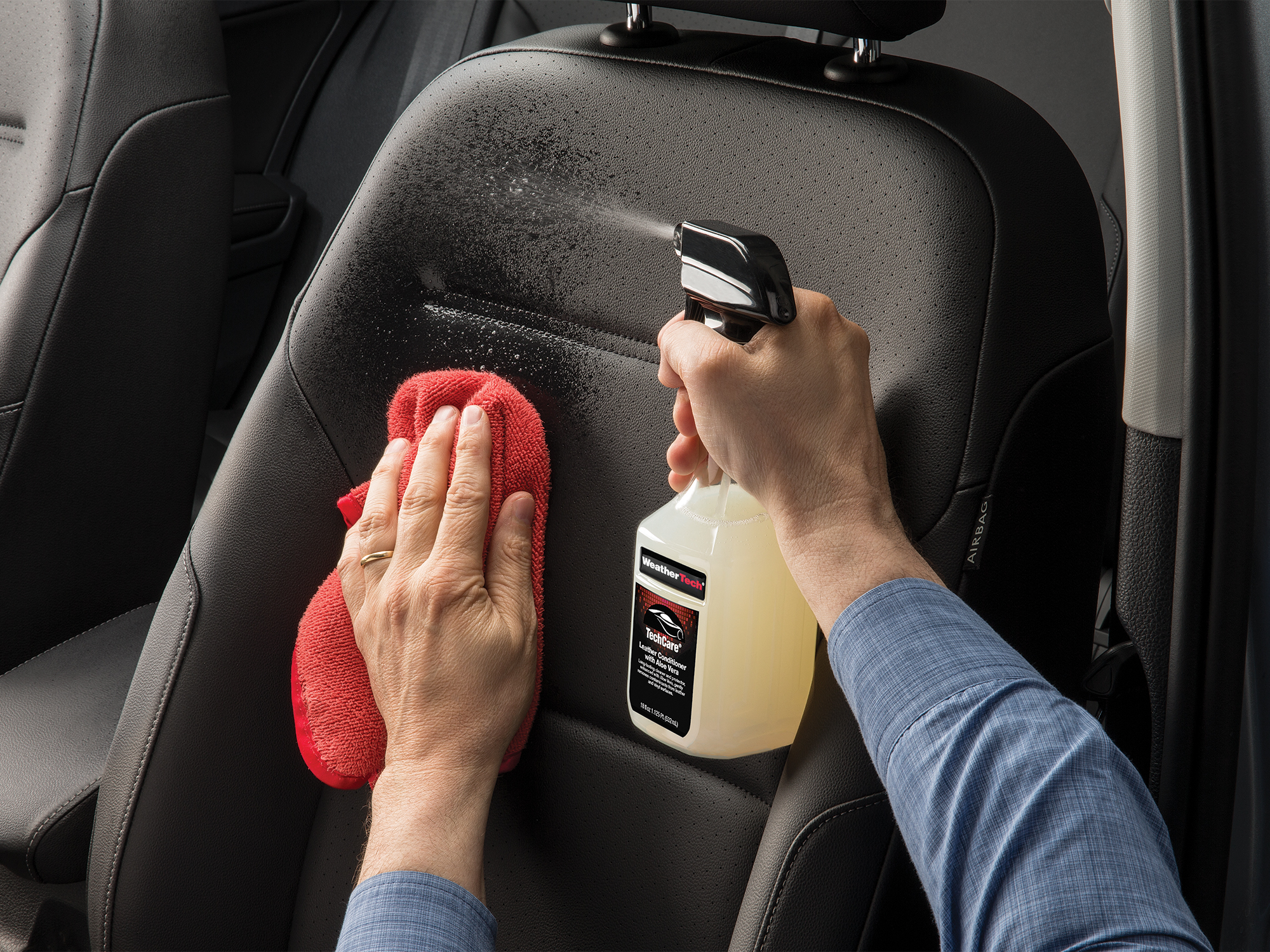 TechCare Leather Conditioner deep cleans automotive leather surfaces and provides protection against UV radiation.