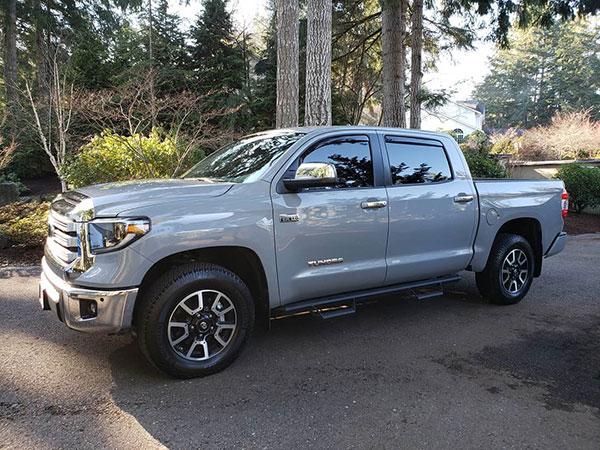 side window deflectors on Toyota Tundra