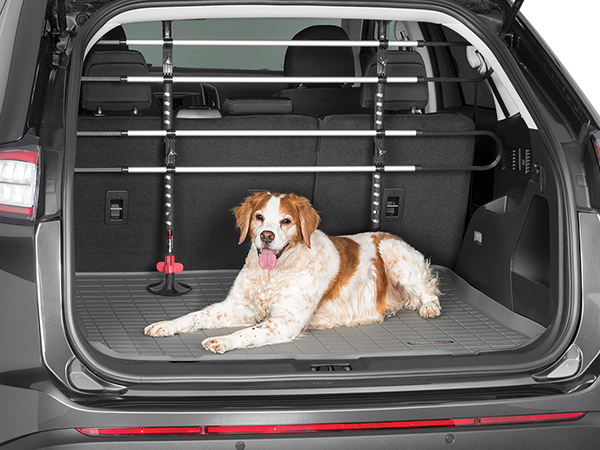 Dog laying down in the back of an SUV with pet barrier installed