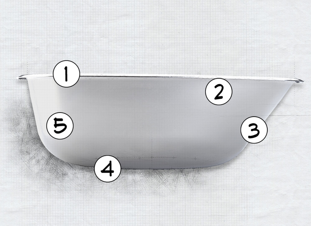 Diagram of pet feeding system bowl highlighting 5 features of the bowl design.