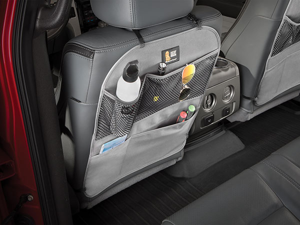WeatherTech Seatback Protector with road trip supplies