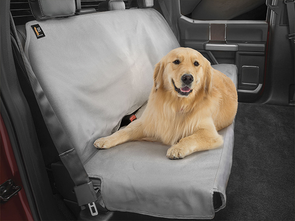 Dog laying on a back seat protector in a truck