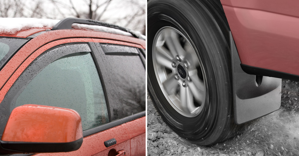 Side Window Deflectors and MudFlaps protect the exterior of your vehicle from winter related debris and damage!