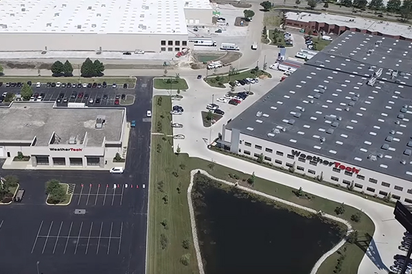 Aerial shot of multiple WeatherTech Buildings